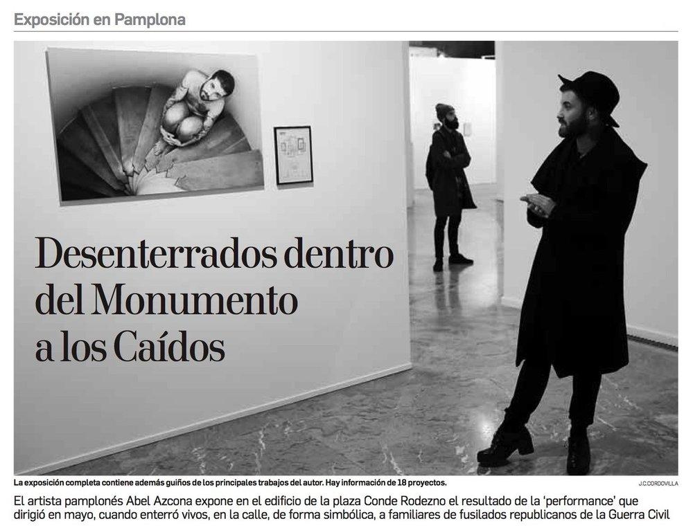 Diario de Navarra, 21 de Noviembre de 2017.Fragmento noticia en papel. PDF Completo . Noticia digital .