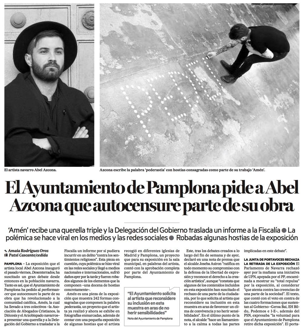 Martes, 24 de Noviembre de 2016. Diario de Noticias de Navarra.
