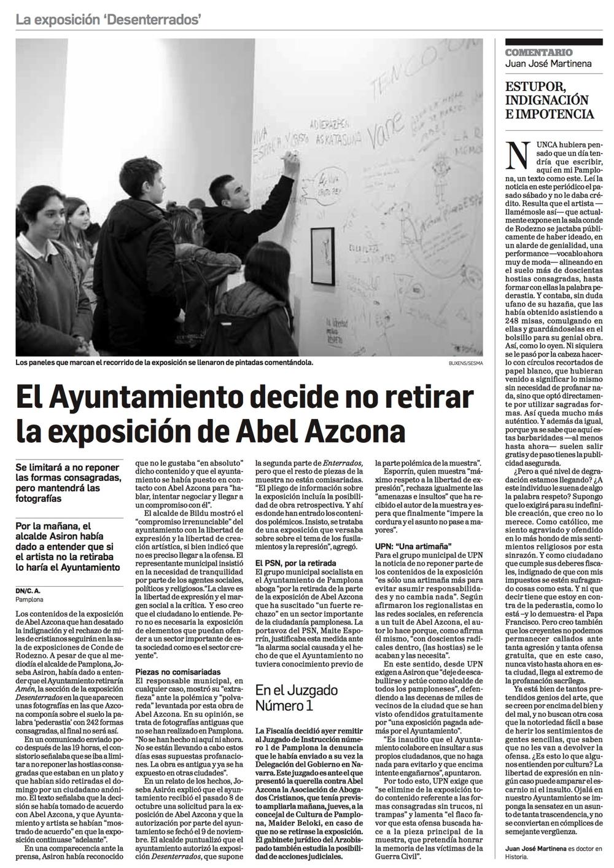 Miércoles, 25 de Noviembre de 2017. Diario de Navarra.