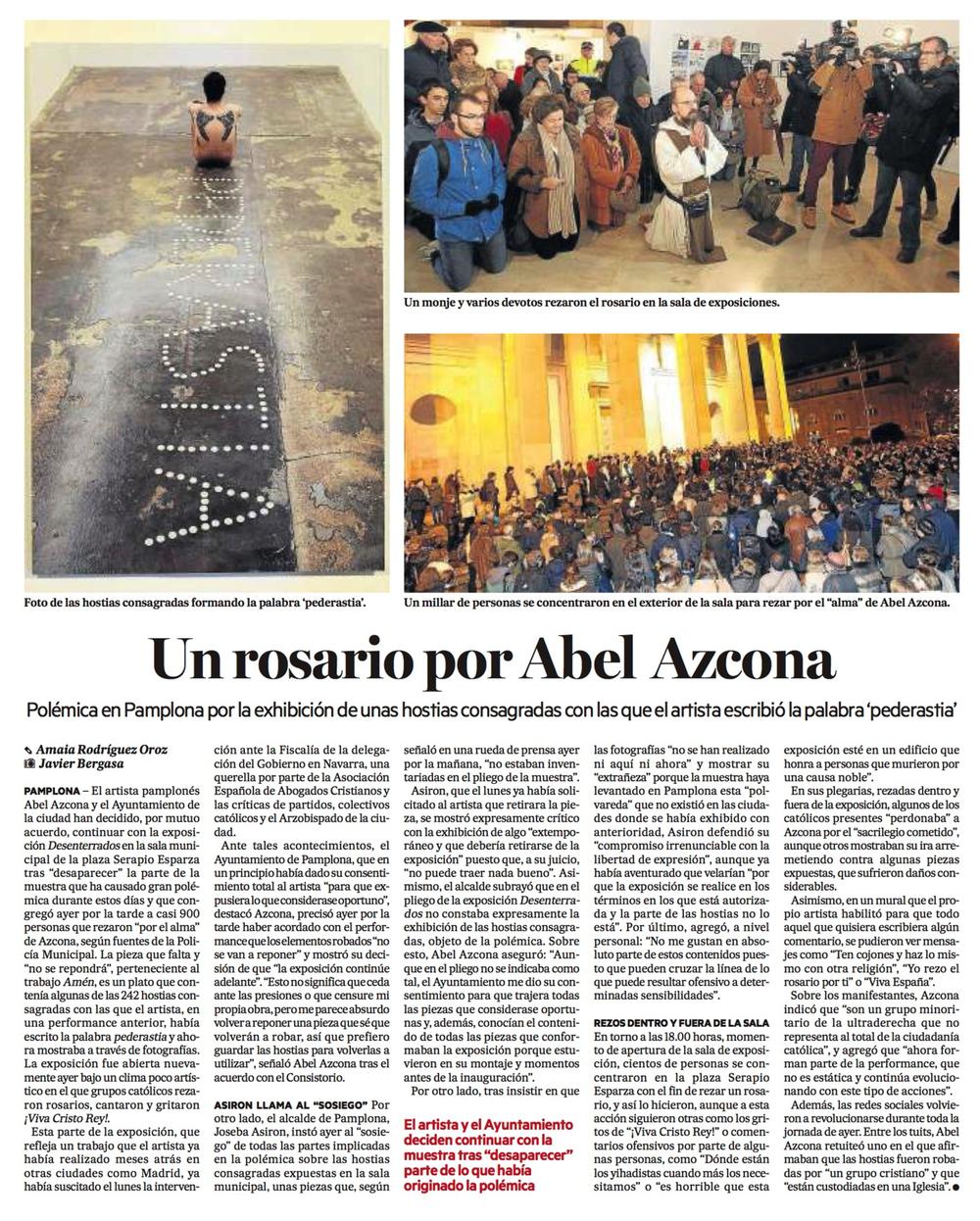 Miércoles, 25 de Noviembre de 2015. Diario de Noticias de Guipúzcoa.