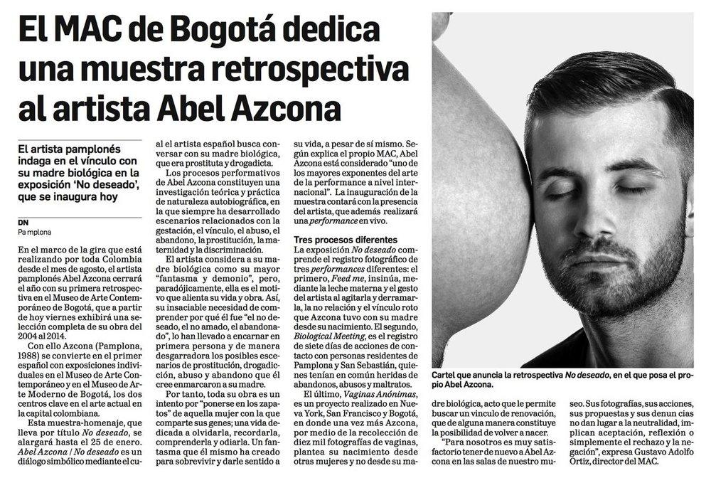 Noticia sobre la exposición retrospectiva de  Abel Azcona en el  Museo de Arte Contemporáneo de Bogotá.