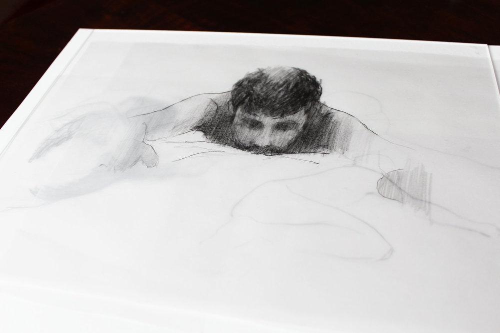 Bocetos de  Azcona dibujados por la pintora  Desi Civera , asistente a la performance desarrollada en  Madrid .