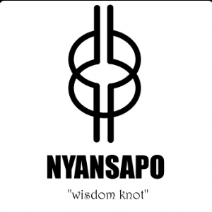 "OUR LOGO Adinkra Symbol NYANSAPO: The ""wisdom knot""    symbol of wisdom, ingenuity, intelligence and patience    This symbol conveys the idea that ""a wise person has the capacity to choose the best means to attain a goal. Being wise implies broad knowledge, learning and experience, and the ability to apply such faculties to practical ends.""    (Willis, "" The Adinkra Dictionary "")"