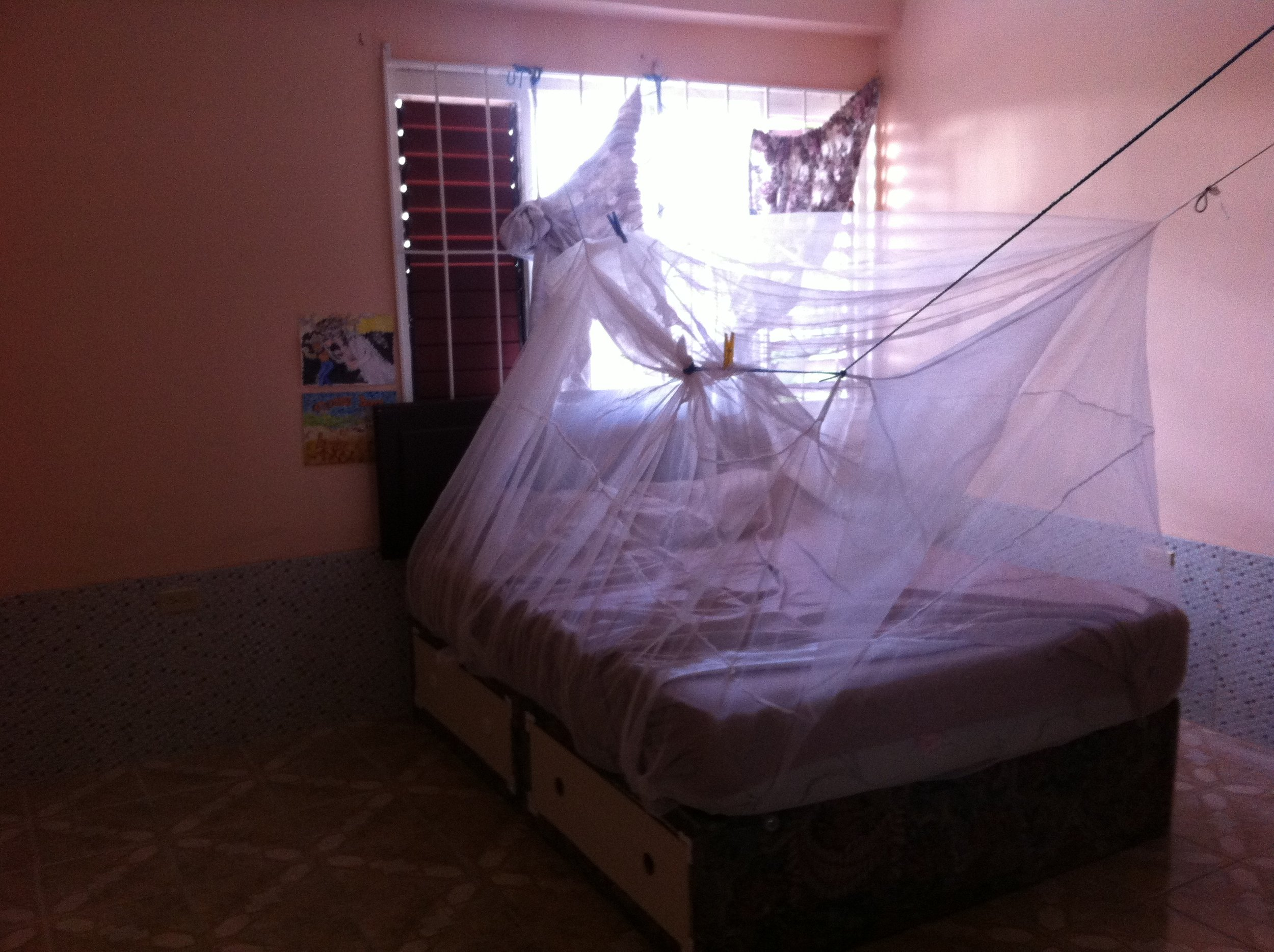 My windows aren't screened so I use a mosquito net.