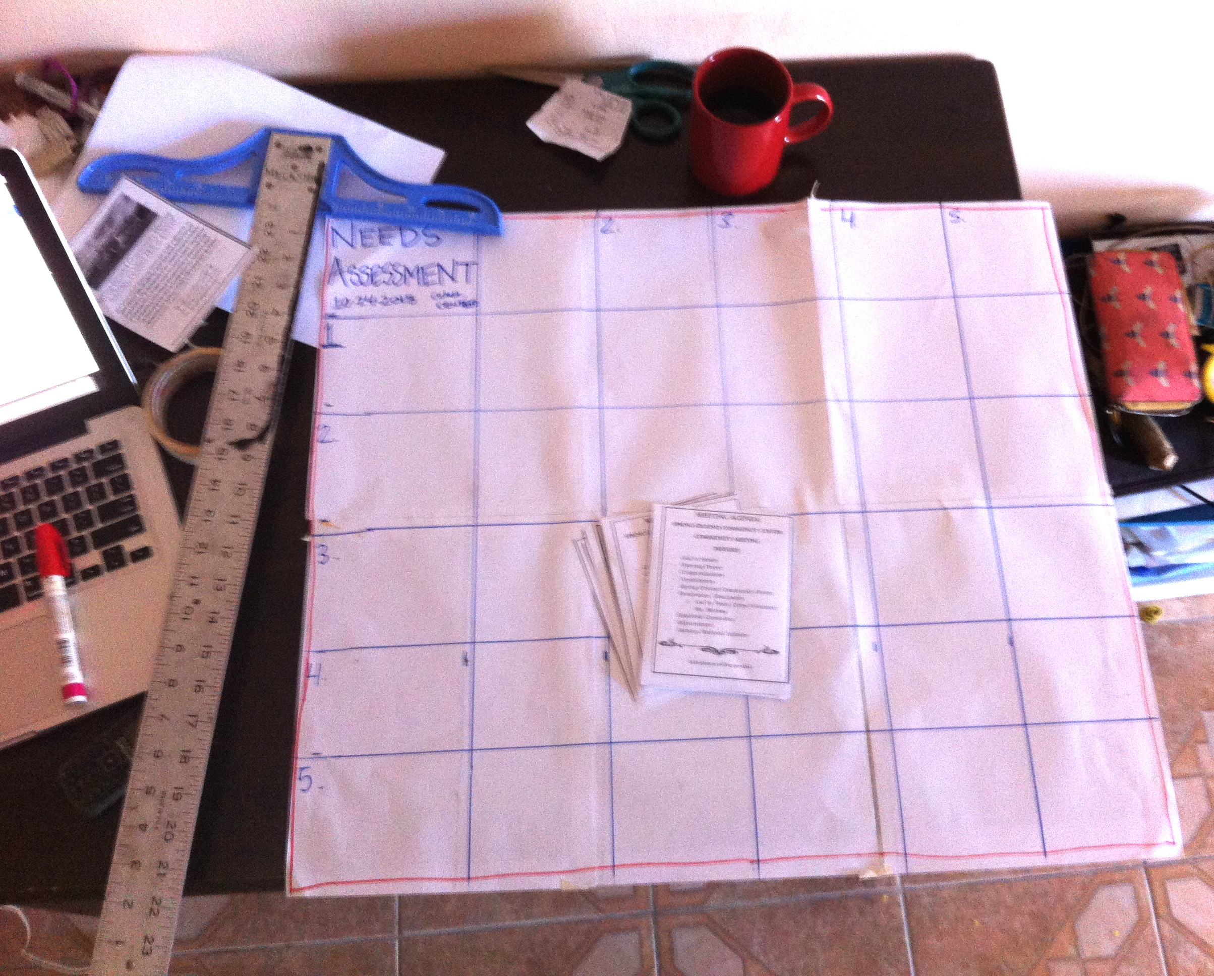 Meeting agendas and pre-prepped needs assessment matrix. Oh, and a big mug of black coffee.