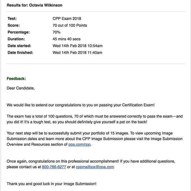 Hard work and dedication always payoff! Commit to your dreams and you will succeed! . . In January I failed my #CPP exam by 2 points. Instead of giving up, I study hard and committed to it. Took the test again this morning and passed!! On the step two of the certification process. #motivation #dedication #goals #ppa #wilkinsonportraits