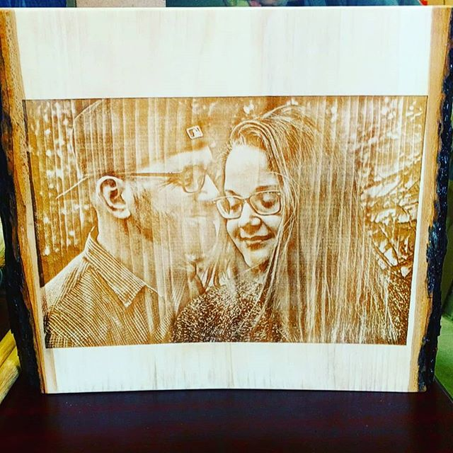 Photo engraved on some #liveedge wood!  #wood #rustic #engraved #poplar #maple #walnut #cherry #art #weddings #toronto #ido #mrandmrs #yes #doit #artistsoninstagram #woodburning #rustictheme #detail #marryme #love #loveu #loveyou #heart #passion