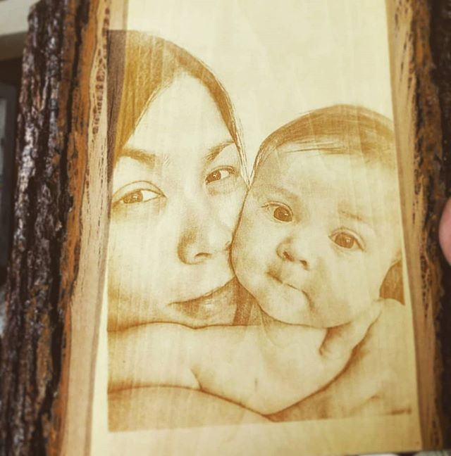 Photo of #mom and her #baby engraved on some live edge wood!  #wood #rustic #engraved #mom #baby #love #loveu  #child #liveedge #maple #walnut #oak #cherry #tattoo #art #tbt #l4l #family #ido #sister #brother #friend #parents #onlyone