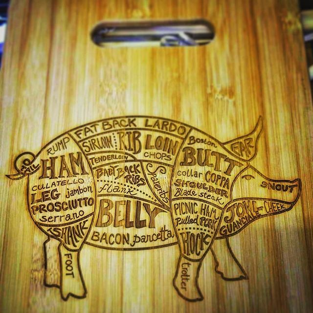 Engraved meat cutting board!  #cuttingboard #cuttingboards #bamboo #pig #ribs #belly #rustic #wood #woodworking #engraved #meat #butcher #butchers #butcherblock #pork #porkchops #porktenderloin #porchetta