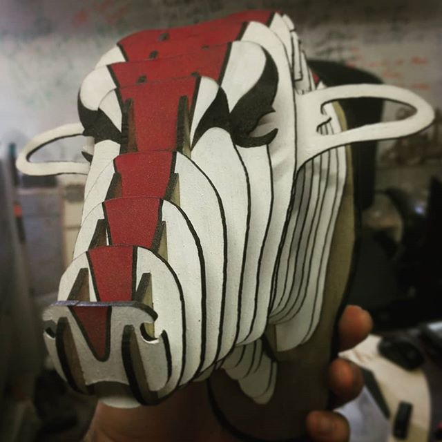 If Kratos was to have a Bull, this would be it! Still working on the horns tho! #commingsoon #custompaintjob  @godofwar.ps4 @sony @ps4 @playstation @playstationca @santamonicastudio @santamonicastudios #playstation #ps4 #ps4pro #sony #santamonicastudio #corybarlog #lasercut #art #artistsoninstagram #gow #godofwar #kratos #atreus #ninerealms #torontoart #toronto #gaming