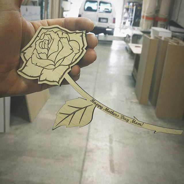 Haven't gotten your mom anything yet?? Let us take care of you! Offering a laser engraved wooden rose. Available all weekend for pick up! $30 w/ custom name engraving.