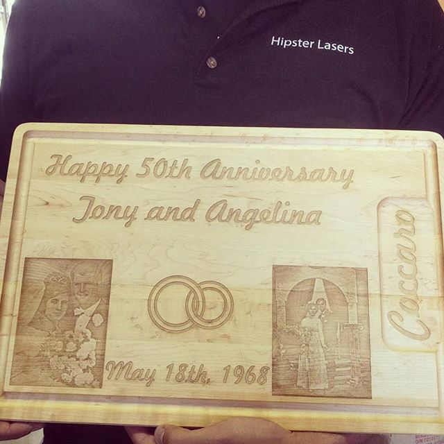 We get a chance to make some awesome gifts for tons of amazing and great people. Here's a cutting board we engraved to celebrate 50 years of love!  Tag someone who would love something like this below!