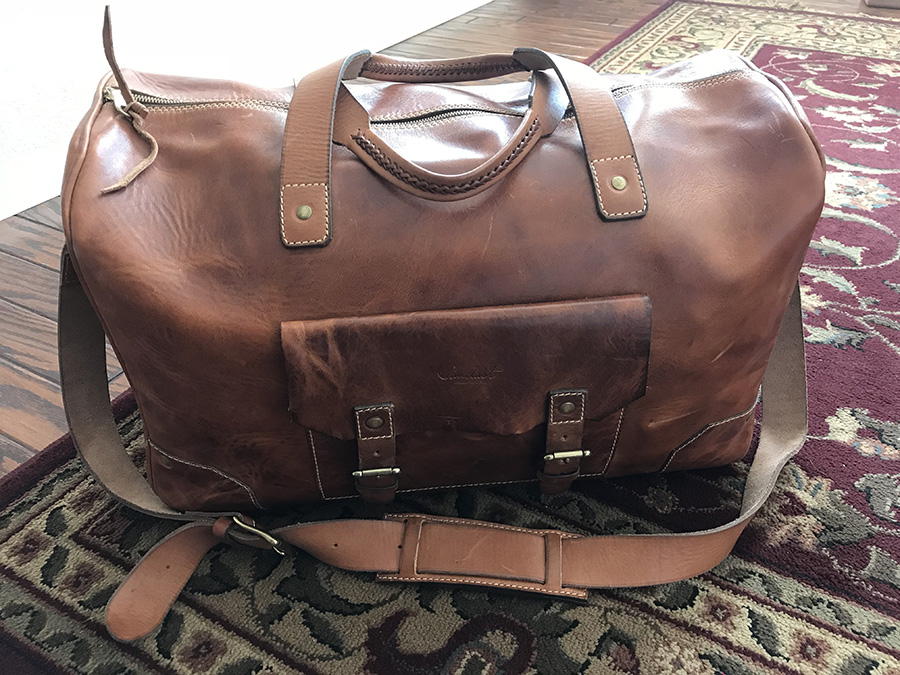 """I have really enjoyed my handmade Sandast Greggory Duffle. It travels well and looks great! The quality of the material and craftsmanship is the best I have seen. Chris does terrific work.""  -Eric H, Newport Beach, California-"