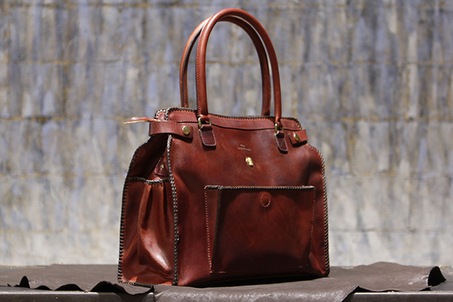 James Tote Braided Cognac
