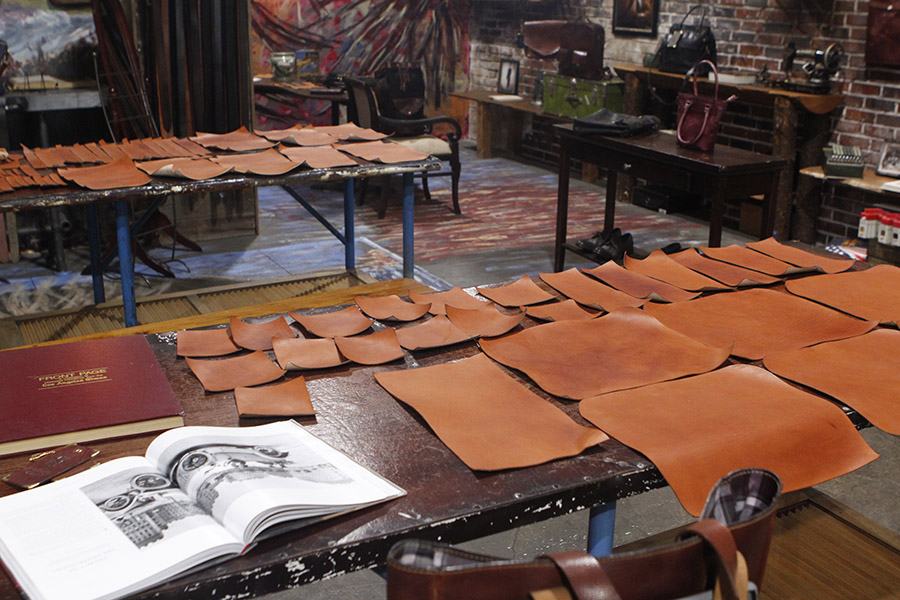 Because of all of the rain we've been having in January, some of the leather tanning needed to be done inside.