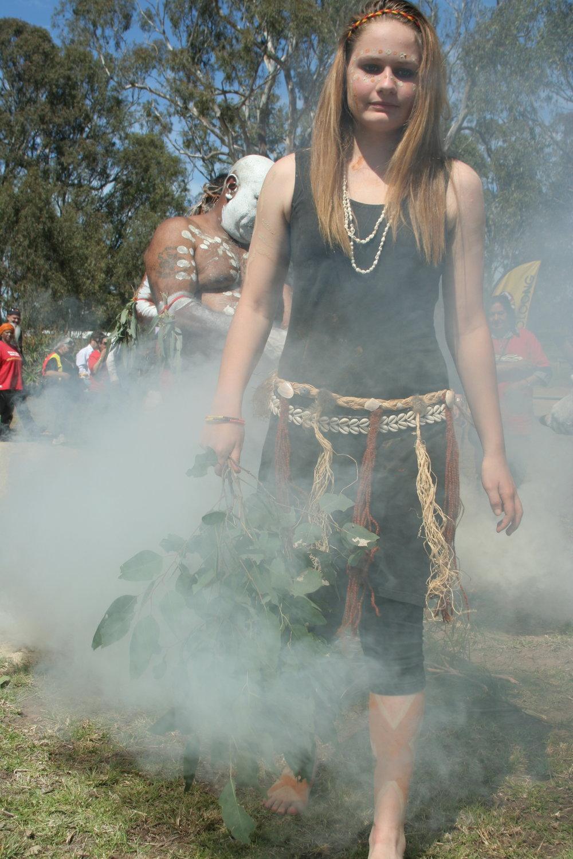 Indigenous dancers during smoking ceremony to open  Gunaikurnai settlement day.JPG