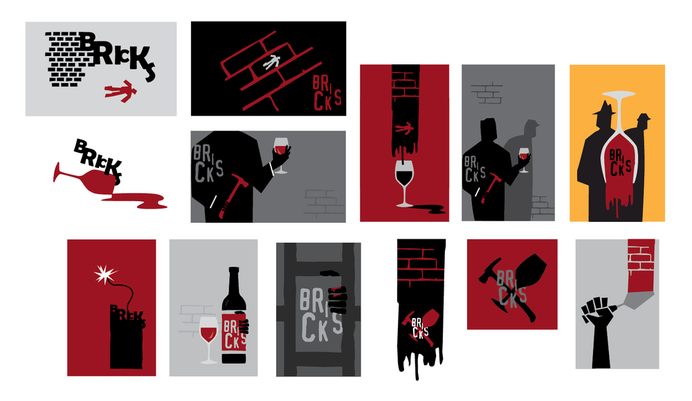 A first round of comps for a short film called Bricks. From them, the director chose several elements he wanted to keep exploring—bricks, hand with a masonry trovel, glass and the red puddle. Already visible in some comps is the title design that changed only slightly in the final poster.