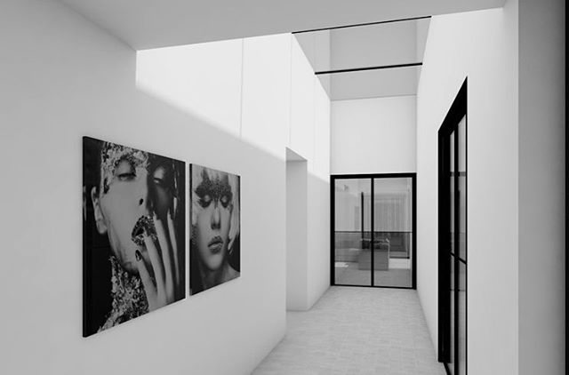 Preview of a new project #architect #interiordesign #interieur #architecture #architectuur #belgianarchitecture #hallway #design #render #archicad #newproject #light #blackandwhite #architecture_lovers
