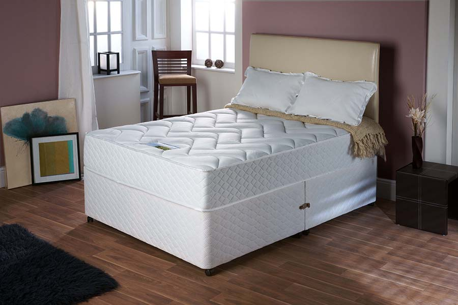 Memory Foam - This is elasticated foam that retains its shape after pressure has been applied to it. Unlike non-elastic fillings, memory foam does not compact or settle, and as such these mattresses do not require turning. Rotating the mattress is all that is required for its upkeep.Memory foam mattresses are recommended for those with shoulder or hip complaints, as the supportive nature of the foam is ideal for absorbing pressure at these points.We also stock mattresses that have a memory foam top above a spring system, rather than foam all the way through, which allows a better circulation of air through the mattress, reducing the build-up of heat during sleeping hours.