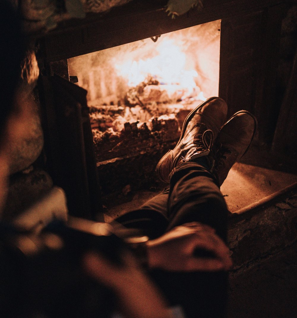 A cosy fire burning in the living pool
