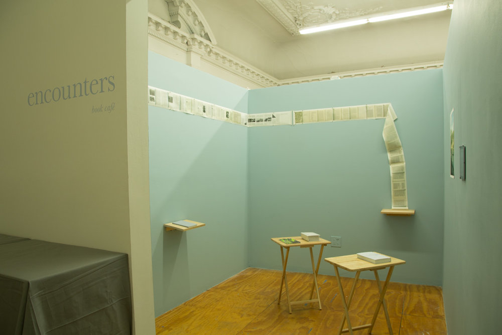 Encounters Book Cafe   during  Minny Lee: Elsewhere , ICP-Bard MFA solo thesis show (March 2016)  at ICP-Bard MFA Studios in Long Island City, New York