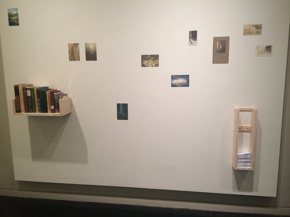 "Minny Lee,  Transcendentalist Concord    Installation View during ICP-Bard MFA Group Show, ""All at Once"" at the School of the International Center of Photography in New York  Archival Pigment Prints, Zine, Found Photographs and Postcards, and Selection of Books  2015-2016"