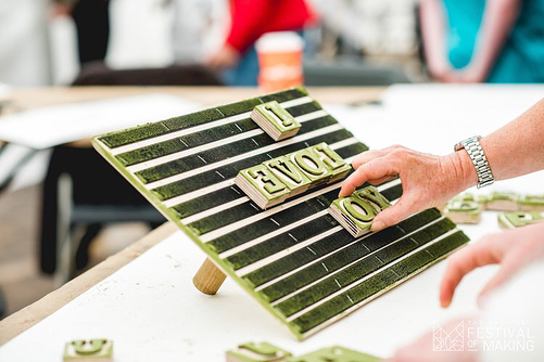 One of our Make with the Manufacturer workshops for @thefestivalofmaking . Woodblock printing with @tmarrett @katedunstone @vanilla_vice #woodblockprint #letterpress #patternmaking #wallpaperdesign #printmaking #workshop #woodworking #craft #design #festivalofmaking #makersdozen #interactivedesign #handmade