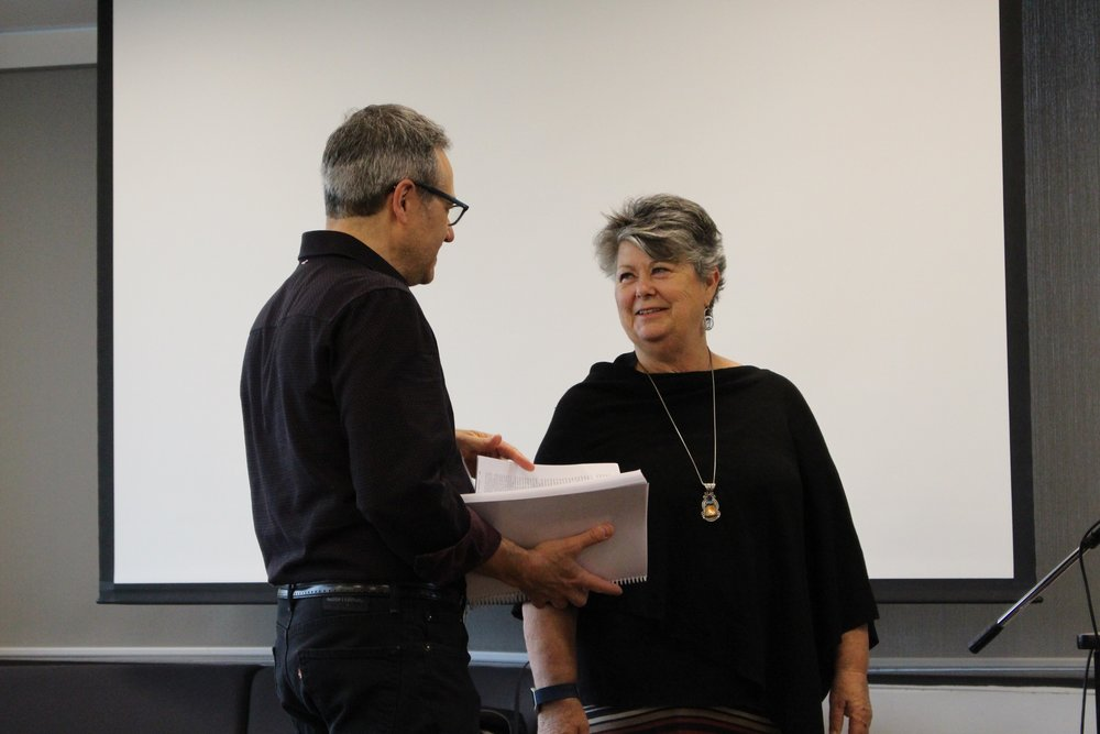 Rob Simon, Director of the Toronto Writing Project, with Linda Christensen at the 2017 TWP Spring Institute.
