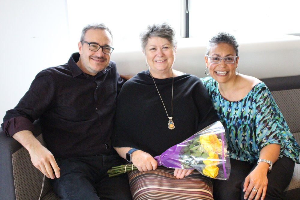 Rob Simon (left), Director of the Toronto Writing Project, and Nicole West-Burns (far right), Coordinator of the Spring Institute, with Linda Christensen (middle).