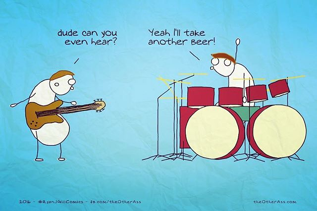 Pahahaha !!! Standard... #bandlife #musicians #cartoon #drummer #guitarist #jokes #ryanjgillcomics #bandjokes #norwichmusic