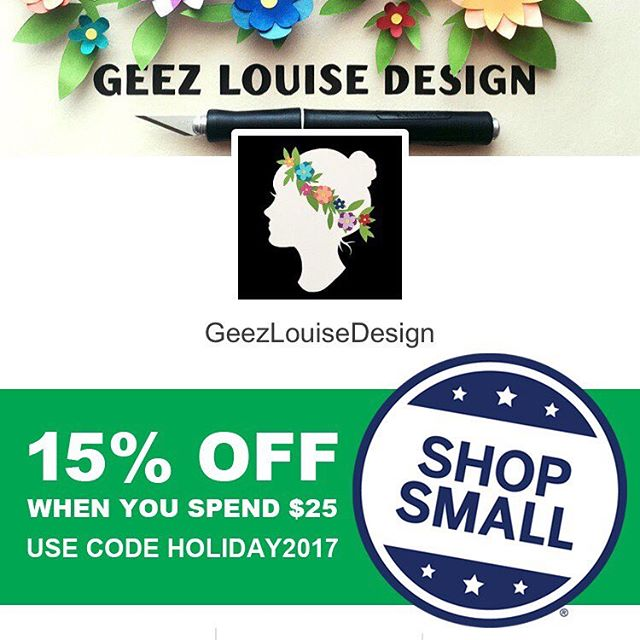 Today through December 1, #shopsmall with us @etsy and save 15% off when you spend $25 or more when you use the code HOLIDAY2017 at checkout. • • • #papercut #paperart #papercutartist #paper #papersource #paperillustration #artwork #paperartwork #paperartist #cutpaperart #dscolor #YestoPS #myPSstyle #dailydoseofpaper #designlife #crafty #craftday #crafternoon #geezlouisedesign #etsy #etsyart #etsyfinds #etsyartist #etsystore #etsyshop #smallbizsat #cybermonday #blackfriday #sale