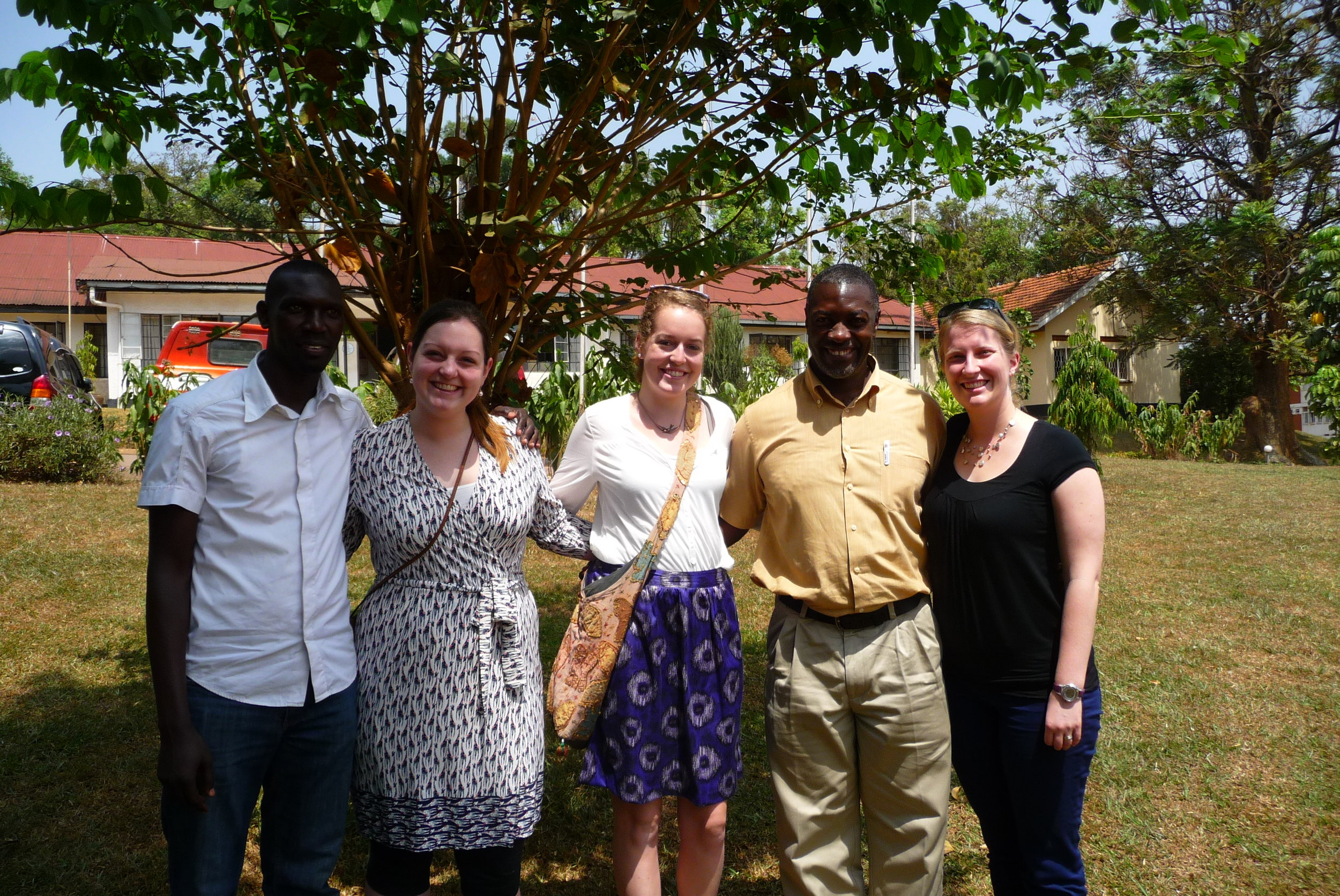 Jamen Kasumba, Kate Bishop-Williams, Vivienne Steele, Shuaib Lwasa, and Sherilee Harper at Makerere University (Kampala, Uganda) on January 29th 2015