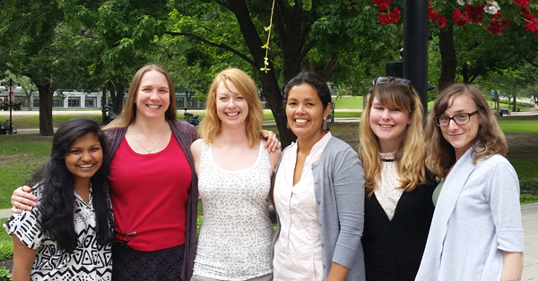 From left to right: Isha Berry, Kelly-Ann Renwick, Blanaid Donnelly, Carol Zavaleta, Kaitlin Paterson, Michelle Maillet on the McGill campus after a celebratory lunch.