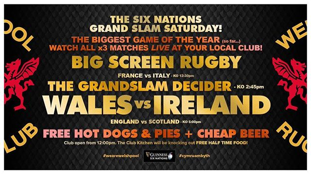 Today is the day...🏴󠁧󠁢󠁷󠁬󠁳󠁿 v 🇮🇪 The Grandslam is SO close...🏆 📺 Watch it at your local club 💪🍺🏉 🌭 FREE 1/2 time HOT DOGS & PIES 🌭  Comment with your Half Time Score to be in with a chance to *WIN a JUG OF BEER* 🍺🍻🍺 👇👇👇 Open from 12pm for the Italy Game.  Free BACON BAPS for Italy v France KO 🥪🥪🥪 #cymruambyth #comeonwales #rugby #6nations #grandslam
