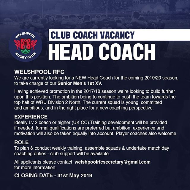 We're still actively seeking the right candidate to lead our 1st XV into the 2019/20 season. This is an excellent chance to work with a team who are consistently improving & committed. For more info DM / email us. 📩🏉👍 Thanks.