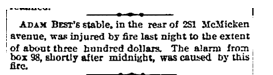 Fires were a common occurrence in the mid-1800s. Poor Adam Best's stable burned down at one point.  Cincinnati Enquirer,  May 24th, 1877.   Courtesy of the Public Library of Cincinnati and Hamilton County.