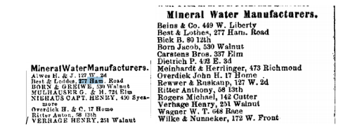 The expanding number of mineral water manufacturers in Cincinnati in 1865 and 1870. Best & Lothes appears to be the only one servicing the far-north part of Over-the-Rhine. Courtesy of the Public Library of Cincinnati and Hamilton County.