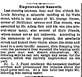 Adam Best and his sons' calculated attack on Louis Schwing at the corner of Elm and W. McMicken.  Cincinnati Enquirer , April 25th, 1879. Courtesy of the Public Library of Cincinnati and Hamilton County.