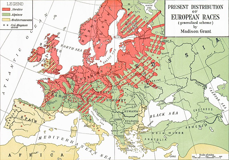 From Madison Grant's  The Passing of the Great Race , showing a map of races in Europe in the early 1900s. Courtesy of Wikipedia.com.