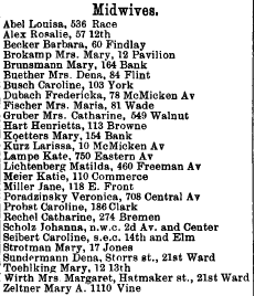 1880 city directory showing midwives. Courtesy of the Public Library of Cincinnati and Hamiton County.