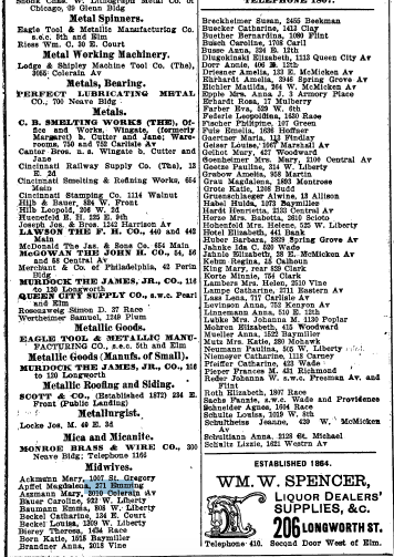 1900 city directory, showing a growing number of midwives compared to earlier years. Courtesy of the Public Library of Cincinnati and Hamilton County.