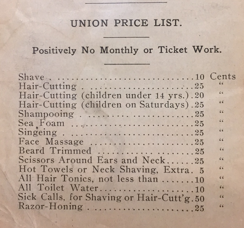 Barbering prices as of 1907. Courtesy of Blegen Library, University of Cincinnati.