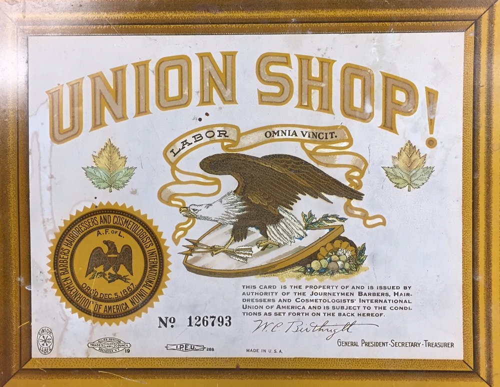 Placard that hung in Union shops. 205 W. McMicken would have had one. Courtesy of Blegen Library, University of Cincinnati.