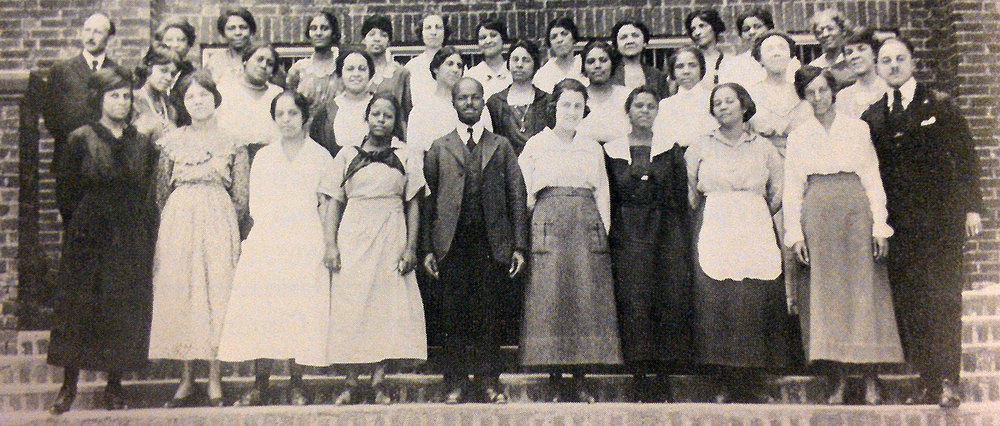 Teachers, with principal in center, of the Douglass School in 1914. Courtesy of the Cincinnati Historical Society.