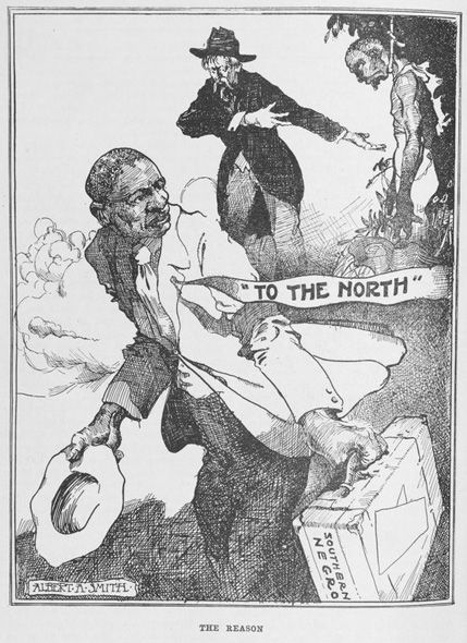 """The Reason,"" depicting why African Americans fled to the north. In the  Crisis  (NAACP) publication, March 1920."