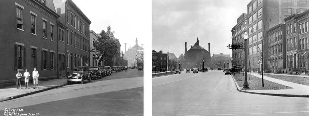 Scenes from the West End in the 1930s. On the left: Laurel Street looking east from John Street, July 1, 1932; on the right, Lincoln Park Drive looking east from John Street, April 18, 1936.