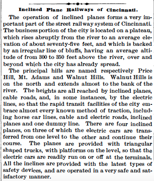 """Inclined Plane Railways of Cincinnati,""  Scientific American , August 11, 1894. Courtesy of JSTOR, University of Cincinnati Libraries."