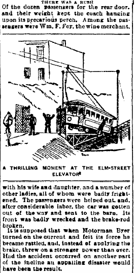 "An almost accident at the Bellevue Incline. ""Plunged: Through the Heavy Iron Gates And Hung on the Edge of the Huge Track,""  Cincinnati Enquirer , August 1, 1892.  Courtesy of the Public Library of Cincinnati and Hamilton County."