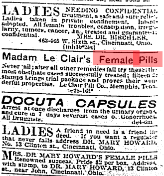 Advertisements referring to contraception.  Cincinnati Enquirer , March 12, 1895. Courtesy of the Public Library of Cincinnati and Hamilton County.