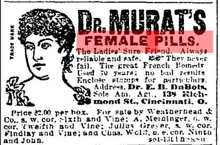 Advertisement for contraception.  Cincinnati Enquirer , September 10, 1892. Courtesy of the Public Library of Cincinnati and Hamilton County.